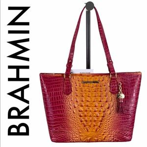 BRAHMIN NWT PINK ORANGE LEATHER SHOULDER TOTE